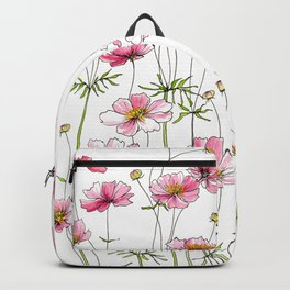 Pink Cosmos Flowers Backpack