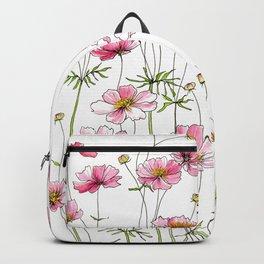 Pink Cosmos Flowers Rucksack