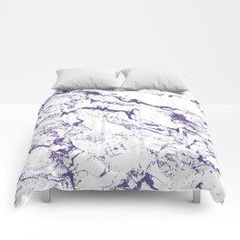 Modern trendy white marble purple ultra violet pattern Comforters