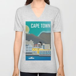 Cape Town, South Africa - Skyline Illustration by Loose Petals Unisex V-Neck