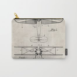 Biplane Patent - Aviation Art - Antique Carry-All Pouch