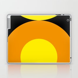 Two suns, one yellow with orange rays,the other orange with yellow rays,both floating in a black sky Laptop & iPad Skin