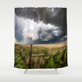 Aquamarine - Storm Over Colorado Plains Shower Curtain