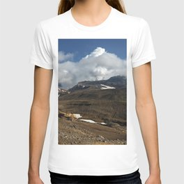 Panoramic view of fumaroles activity active volcano on Kamchatka Peninsula T-shirt