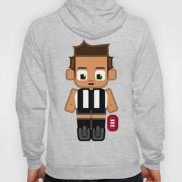 Super cute sports stars - Black and White Aussie Footy Hoody