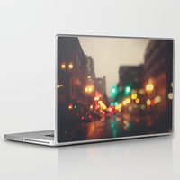 portland Laptop & iPad Skins featuring Portland In The Rain by Laura Ruth