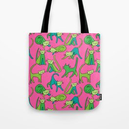 kitty kat (green on pink) Tote Bag