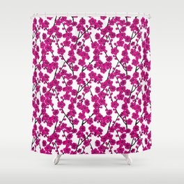 Pink Cherry Blossom Pattern Shower Curtain