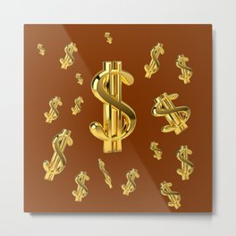 FLOATING GOLDEN DOLLARS  IN COFFEE BROWN DESIGN Metal Print