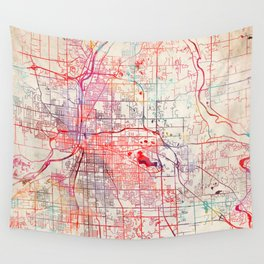 Grand Rapids map Michigan painting Wall Tapestry