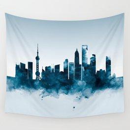 Shanghai Skyline Wall Tapestry
