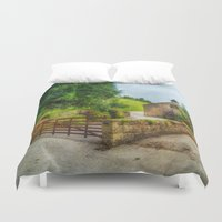 country Duvet Covers featuring  Country Stables by Fine Art by Rina