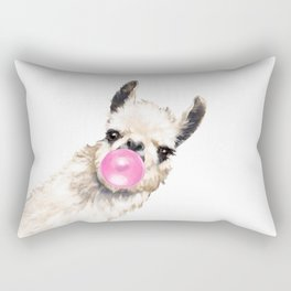 Bubble Gum Sneaky Llama Rectangular Pillow