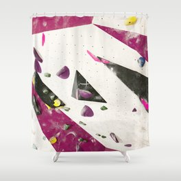 Maroon climbing wall boulders bouldering gym abstract geometric print Shower Curtain