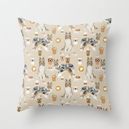 Shetland Sheepdog blue merle sheltie dog breed coffee pattern dogs portrait sheepdogs art Throw Pillow