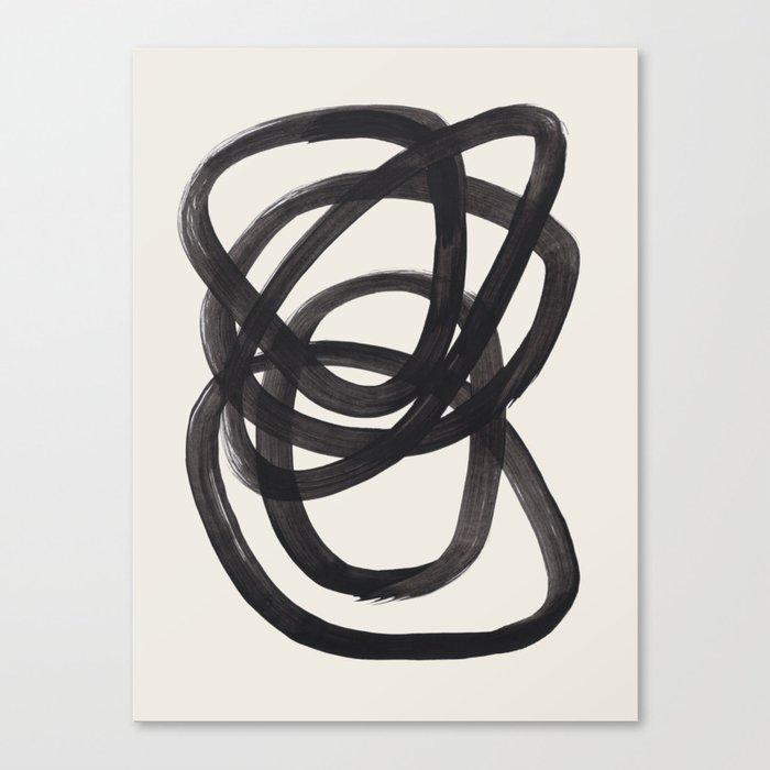 Mid Century Modern Minimalist Abstract Art Brush Strokes Black & White Ink Art Spiral Circles Leinwanddruck
