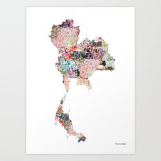Thailand map Art Print