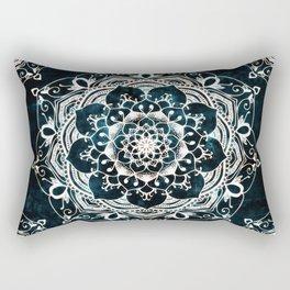 Glowing Spirit Mandala Blue White Rectangular Pillow