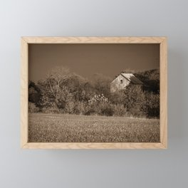 Abandoned Barn In The Trees Monochromatic / Sepia Landscape Photo Framed Mini Art Print