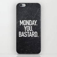 xbox iPhone & iPod Skins featuring Monday You Bastard by Text Guy