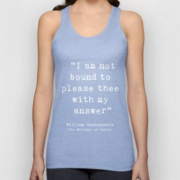 Shakespeare quote philosophy typography black white Unisex Tank Top