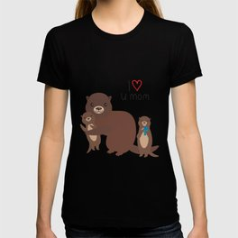I Love You Mom. Funny brown kids otters with fish on white background. Gift card for Mothers Day. T-shirt