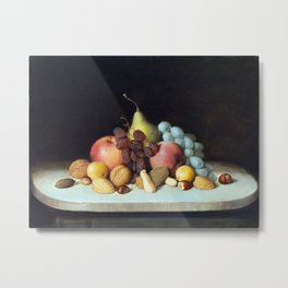 Robert Seldon Duncanson Still Life with Fruit and Nuts Metal Print