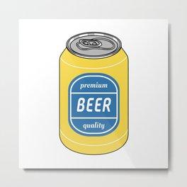 Pop Art Beer Yellow and Blue Metal Print
