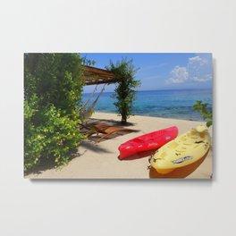 Kayaks on a Tropical Island Metal Print