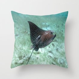 Watercolor Ray, Spotted Eagle Ray 26, St John, USVI Throw Pillow