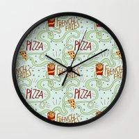 fries Wall Clocks featuring PIZZA & FRIES by Josh LaFayette