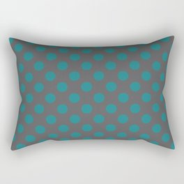 Large Polka Dots in Teal on Charcoal Gray Rectangular Pillow