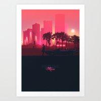 hotline miami Art Prints featuring Hotline Miami by Mbdsgns / Michybaps Designs