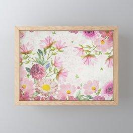 Pink Floral Drawing Framed Mini Art Print