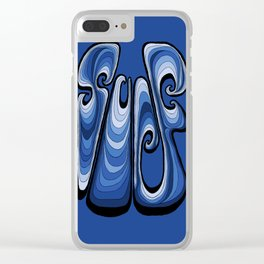 Surf Typography - Deep Blue Clear iPhone Case