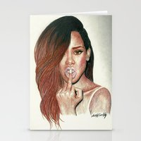 rihanna Stationery Cards featuring RIHANNA  by NoahCribb