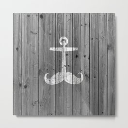 Anchstache | Hipster white distressed mustache anchor on retro gray wood Metal Print