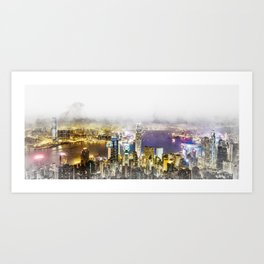 panoramic modern city skyline aerial night view in Hong Kong (HK), China Art Print