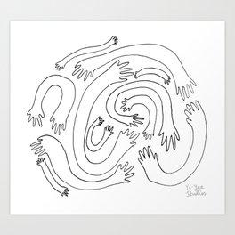Minimalist Hand Maze Art Print
