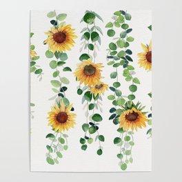 Eucalyptus and Sunflowers Garland  Poster