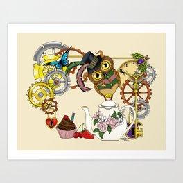 Steampunk Tea Time Owl Art Print