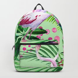 seamless pattern watercolor pink flamingo flowers and tropical leaves Backpack