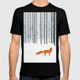 Fox in the white snow winter forest illustration T-shirt