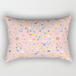 Postmodern Granite Terrazzo Large Scale in Pink Multi Rectangular Pillow