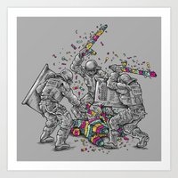police Art Prints featuring Police Brutality by Peter Kramar