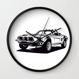 Classic american muscle car icon vector graphic design Wall Clock