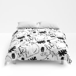 Black white hand drawn wolf floral typography Comforters