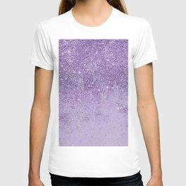 Modern elegant lavender lilac glitter marble T-shirt