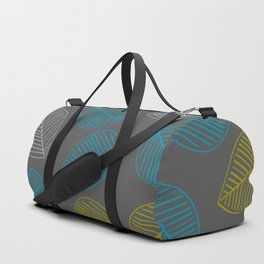 Mid Century Modern Falling Leaves Turquoise Chartreuse Gray Duffle Bag