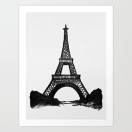 Eiffel Tower in Black Art Print